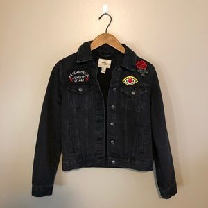 Forever 21 Black Denim Jacket with Patches